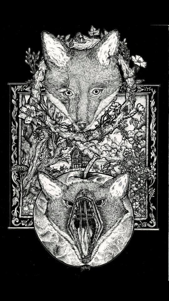 Black and white illustration of a fox and bat with it's mouth wide open, over a creepy house surrounded by woods and flowers